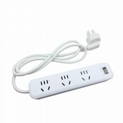 單USB  LED燈 1.2米線長新國標插座排插 大間距排插