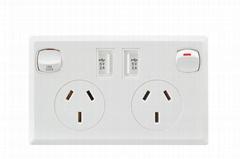AU plug switch socket with dual usb port