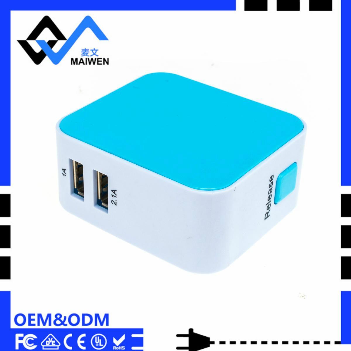 3.1A 双USB充电器套装带欧规,美规,英规,澳规插头 5