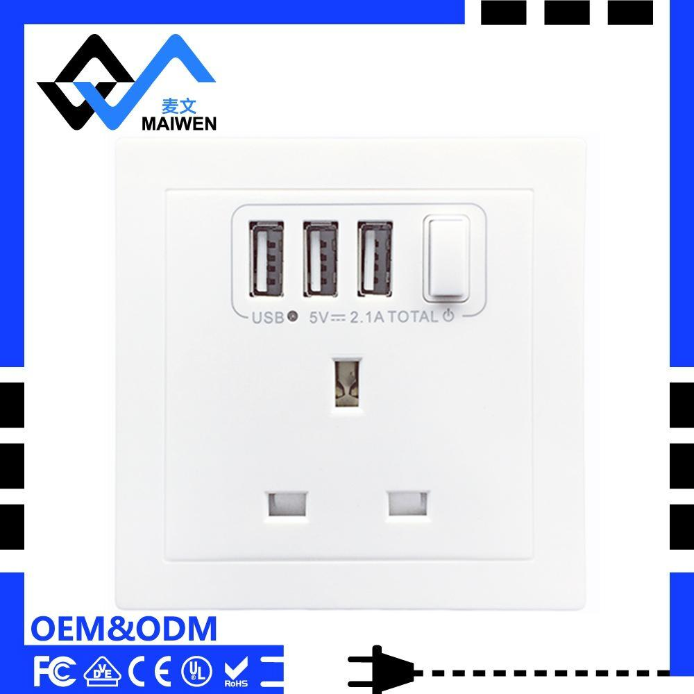 UK Wall Socket with 3 USB Port and Switch 1