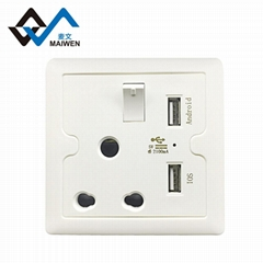 Dual usb south africa type switch wall socket