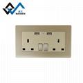墙面118型英规墙面插座 双开USB足2.1A墙面插座 英规英标插座