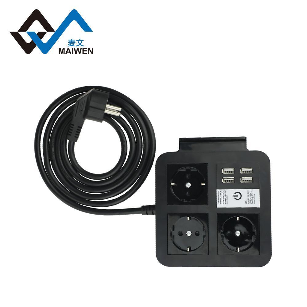 桌面欧规插座排插 手机架 4USB和Type-C接口 4/2位插座 1