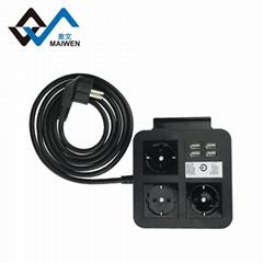 桌面歐規插座排插 手機架 4USB和Type-C接口 4/2位插座