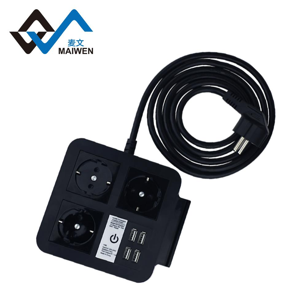 桌面欧规插座排插 手机架 4USB和Type-C接口 4/2位插座 2