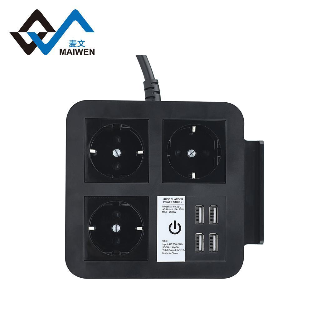 桌面欧规插座排插 手机架 4USB和Type-C接口 4/2位插座 3