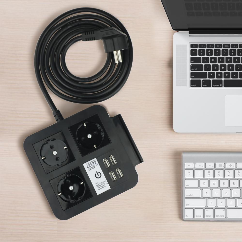 桌面歐規插座排插 手機架 4USB和Type-C接口 4/2位插座 4