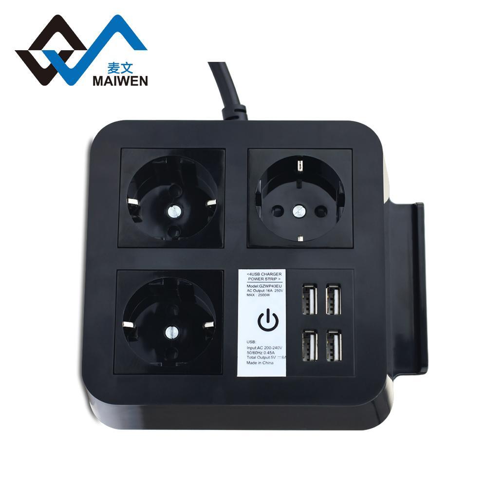 桌面欧规插座排插 手机架 4USB和Type-C接口 4/2位插座 5