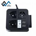 桌面欧规插座排插 手机架 4USB和Type-C接口 4/2位插座