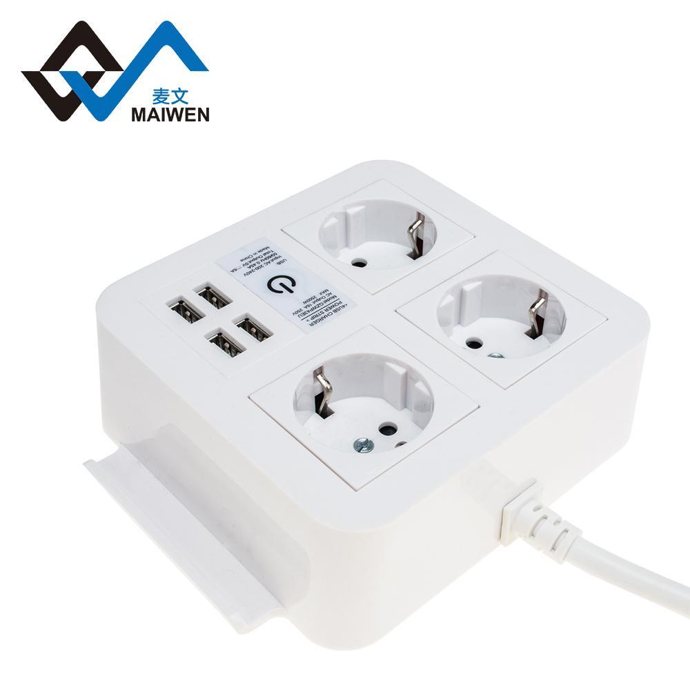 桌面欧规插座排插 手机架 4USB和Type-C接口 4/2位插座 6