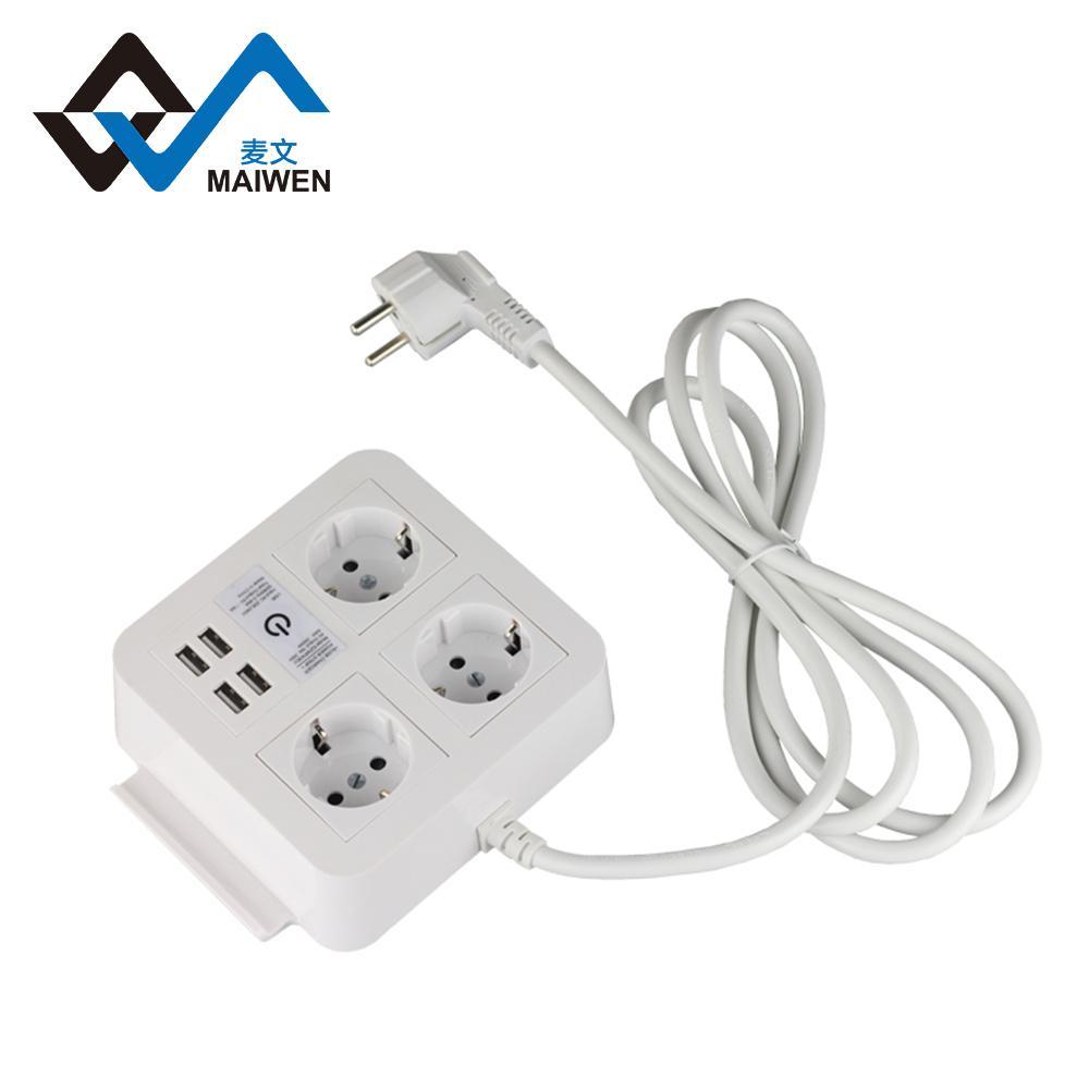 桌面歐規插座排插 手機架 4USB和Type-C接口 4/2位插座 9