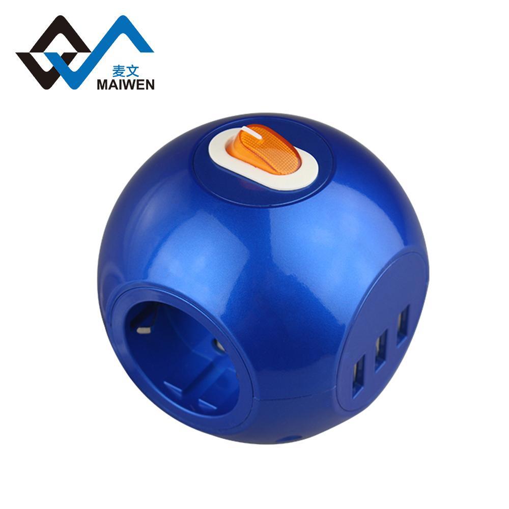 球形3USB欧式排插 2