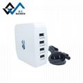 USB转换插座 4USB插口8字型转换插孔 英美欧澳规插脚 2