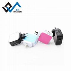 3.1A 双USB充电器套装带欧规,美规,英规,澳规插头