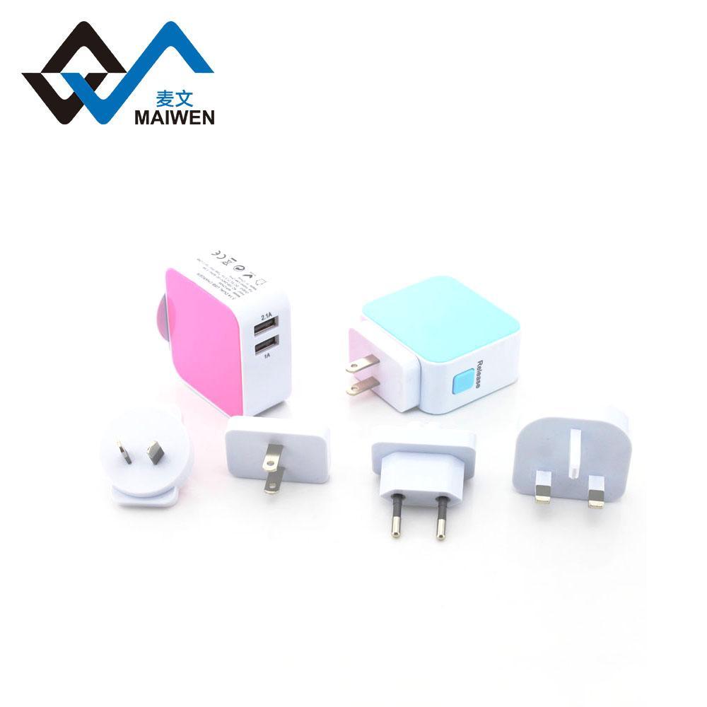 3.1A 双USB充电器套装带欧规,美规,英规,澳规插头 2