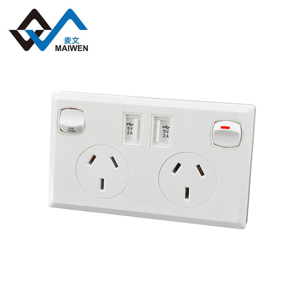 澳规118型墙面插座 双USB带开关插座 1