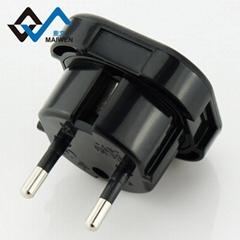 英規轉歐規4.0 小插頭 帶安全門 黑白雙色