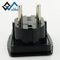 英規插孔轉歐規4.0MM/4.8MM帶安全門插頭轉換器