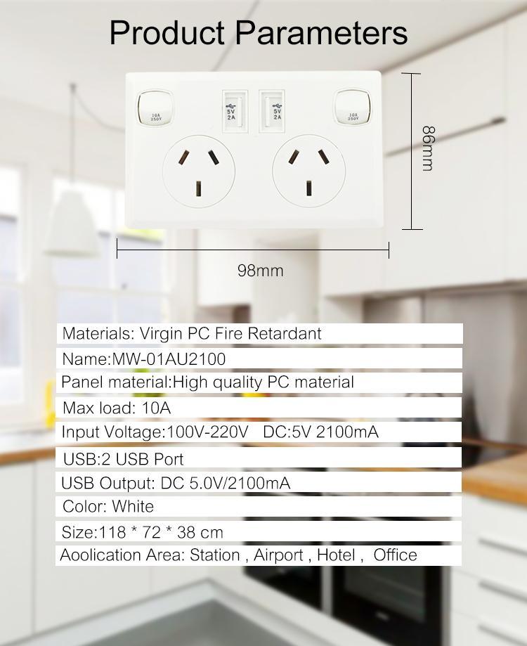AU plug switch socket with dual usb port 2.1A 4