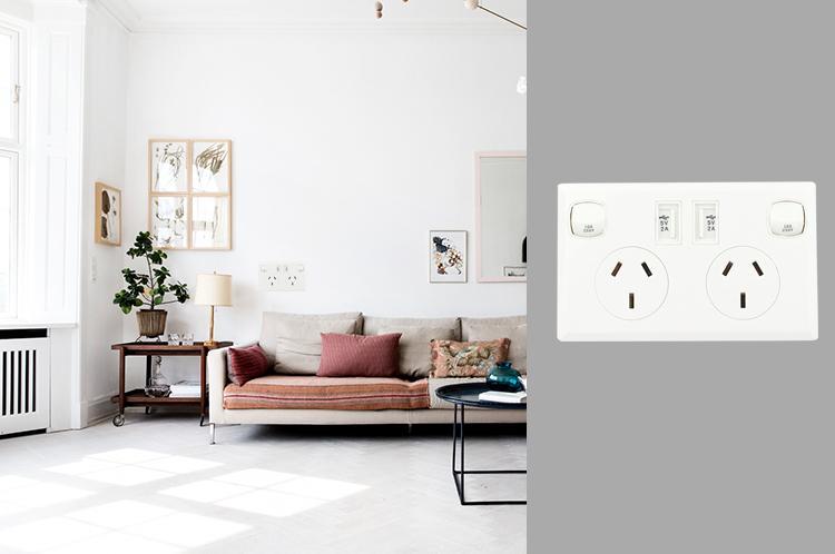 AU plug switch socket with dual usb port 2.1A 5