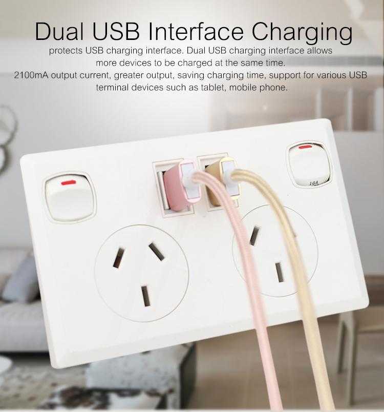 AU plug switch socket with dual usb port 2.1A 6