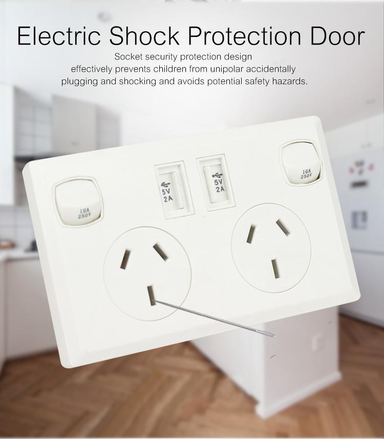 AU plug switch socket with dual usb port 2.1A 8