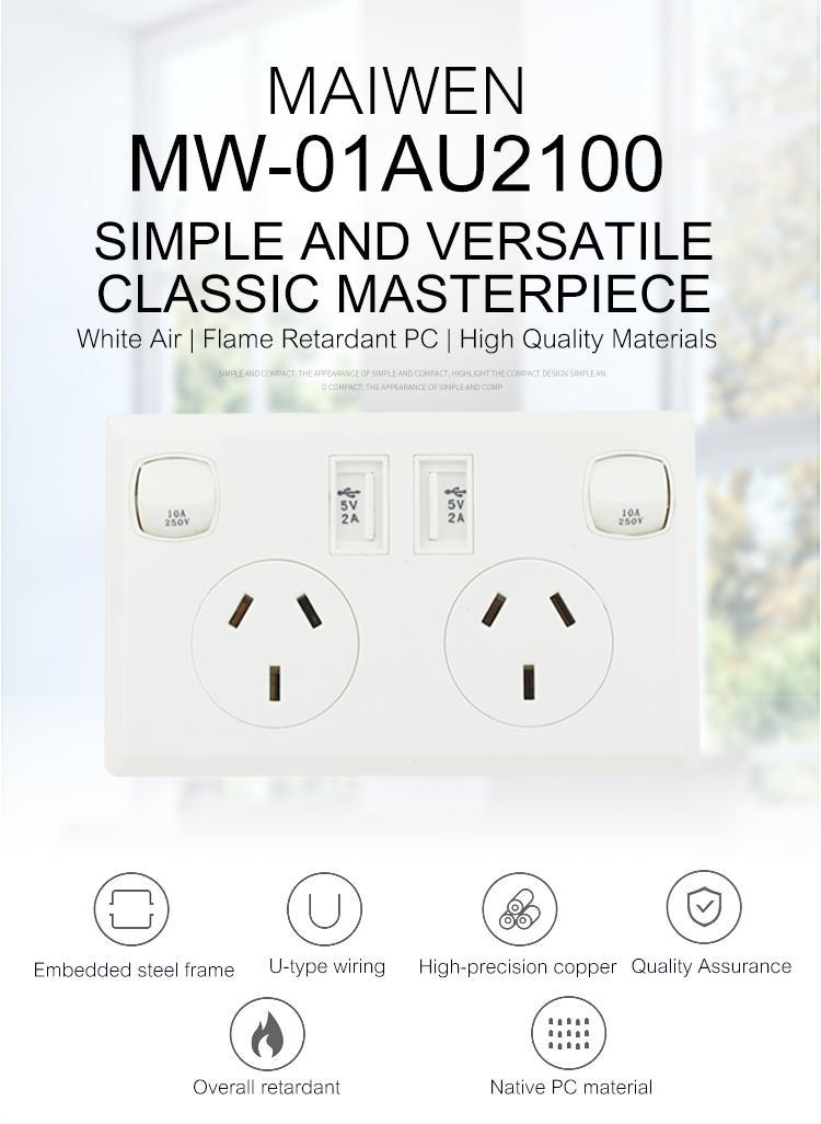 AU plug switch socket with dual usb port 2.1A 9