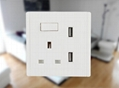 英規86型雙USB牆面插座 開