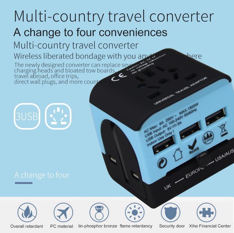 2018 the new 3 USB multinational general transform plugs 7