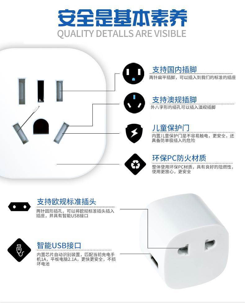 multi-function multinational USB travel adapter 7