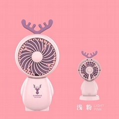 Portable USB charging handheld desktop antlers mini fan student office gifts