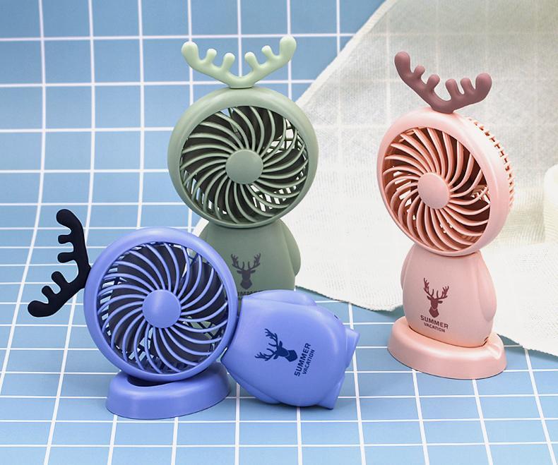 網紅小風扇便攜式usb充電手持桌面鹿角 迷你風扇 學生用辦公禮品 10