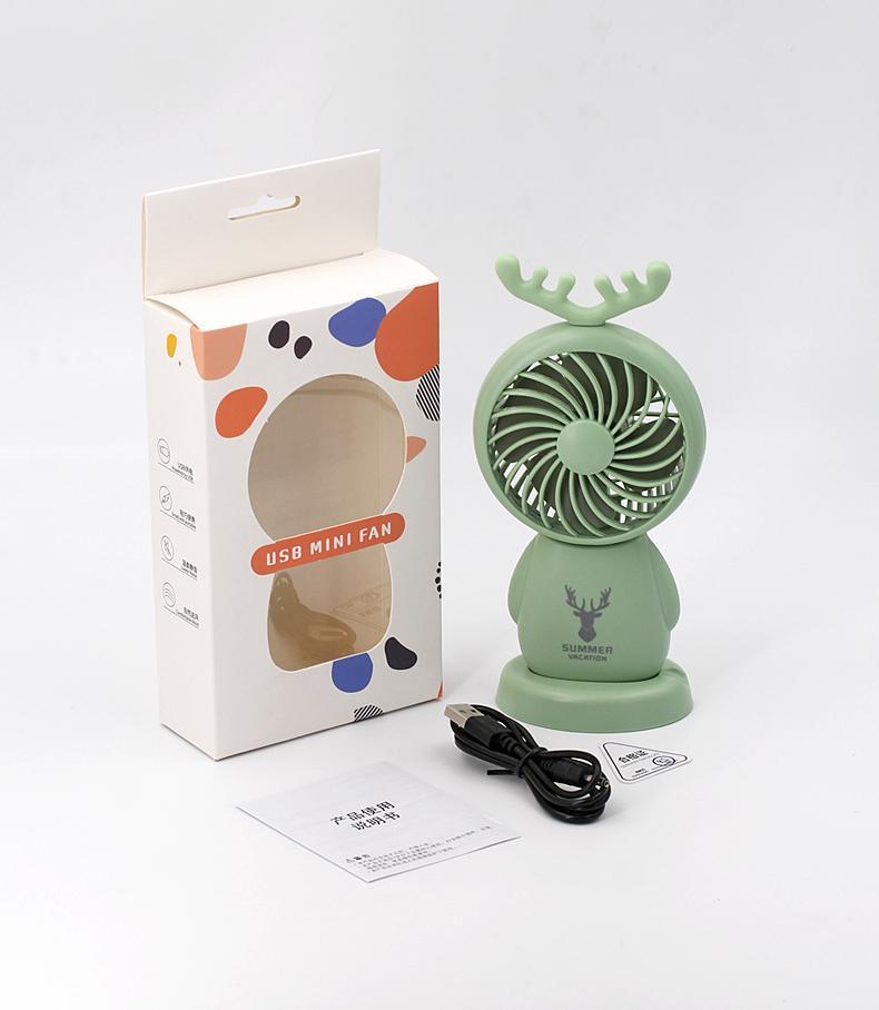 網紅小風扇便攜式usb充電手持桌面鹿角 迷你風扇 學生用辦公禮品 12