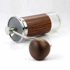 便攜式手動咖啡豆研磨機帶可調錐形毛刺鋁合金機身