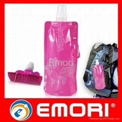 Reusable plastic foldable water bottle