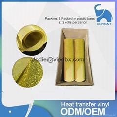 19 Inch x 25 Yards Gold Color Heat Transfer Glitter Flim Vinyl For Tshirts