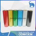 Heat transfer various color pvc pu glitter reflective vinyl rolls wholesale t sh