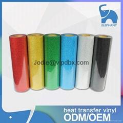 Heat transfer various color pvc pu glitter reflective vinyl rolls wholesale t sh