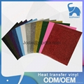 OEM design your own t shirt adhesive glitter heat transfer vinyl sheets