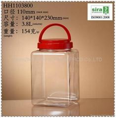3.8L/3800ml PET 塑胶食品罐子/方形塑料大罐子