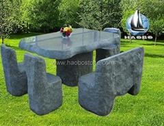 Granite garden table set