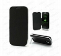 3300mAh Power Bank Leather Flip Backup Battery Case for Samsung Galaxy S IV S4