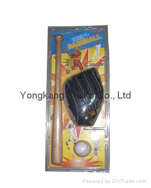 Baseball + Wooden Bat + Glove Set 1