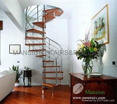 Decorative Stainless Steel Wood Spiral Stairs