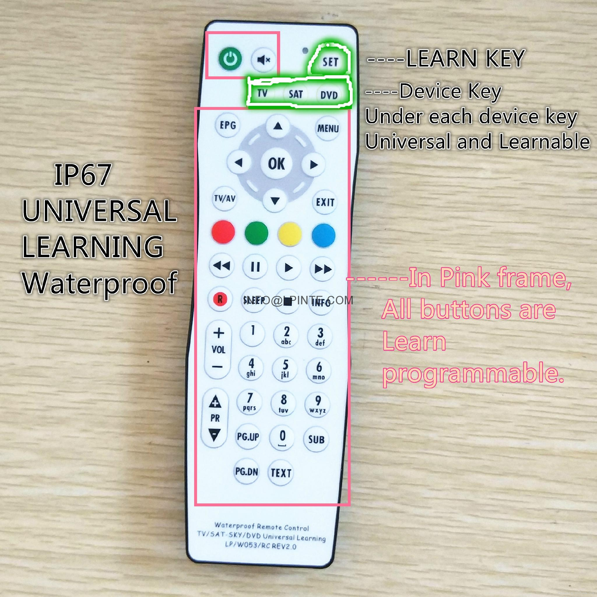 waterproof tv remote control clean washable outdoor tv one key learning 8