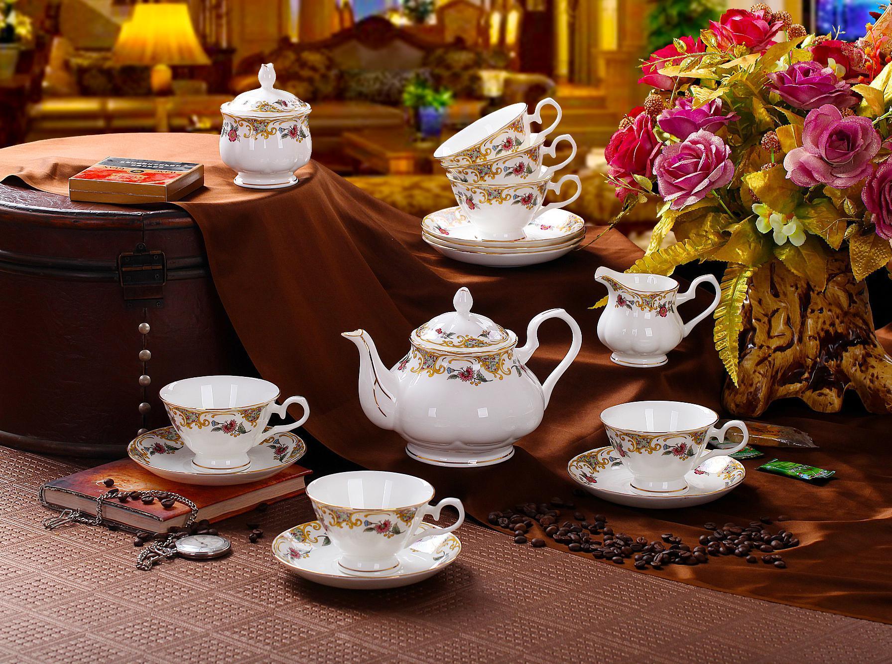 porcelain coffee set plate bowl cream pither 15pcs kit 1 11