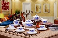 porcelain coffee set plate bowl cream pither 15pcs kit 3