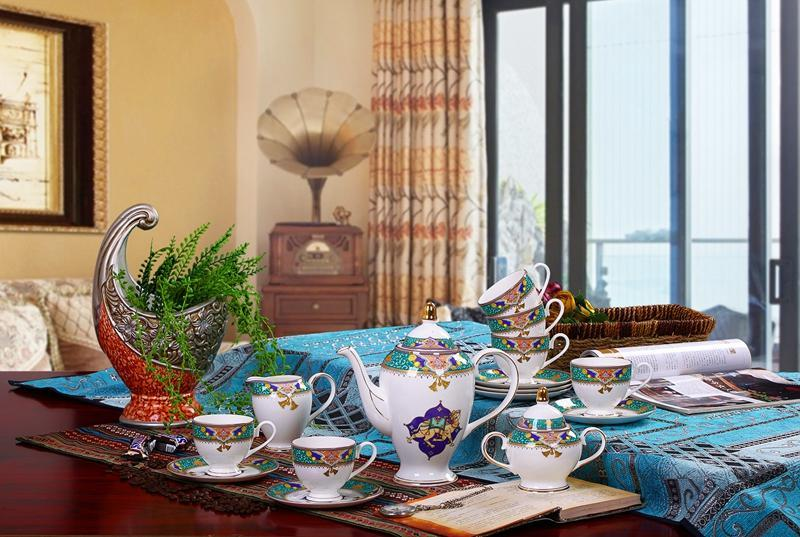 The belt and Road PORCELAIN COFFEE POT COFFEE CUP 15PCS KIT A3
