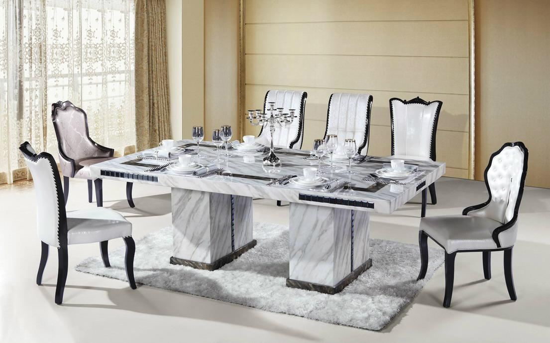 8 Seater Rectangle Marble Dining Table Furniture 1