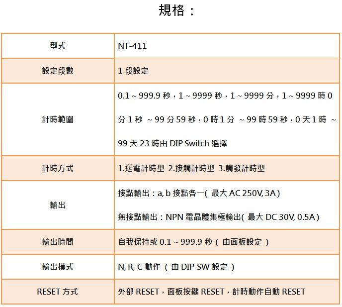 ORDER TIMER NT-411 NT-422 NT-411-M2 NT-422-M2